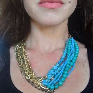 Two Tone Multi Chain Necklace - Turquoise and Gold